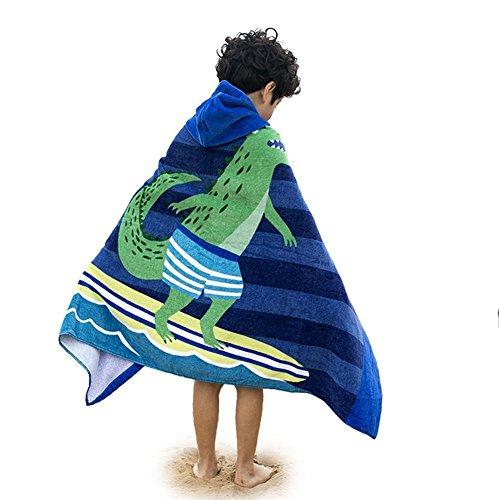 Marlong Kids Cute Cartoon Hooded Beach Pool Bath Towel Large Poncho Swim Beach Towel Gulls & Crocodile Pattern for Boys Girls (Surfing (Hooded Bath Towel Pattern)