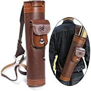 I-sport Traditional Archery Back Quiver Cow Leather Arrow Holder Shoulder Hanged Adjustable Straps