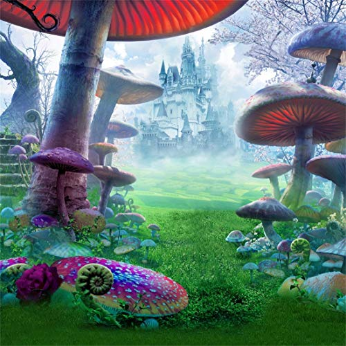 Yeele 5x5ft Vinyl Photography Background Spring Wonderland Dreamland Fairytale Mushroom Castle Magical Style Forest Jungle Photo Backdrops Pictures Photoshoot Studio Props Wallpaper (Pictures Castles Tale Fairy)