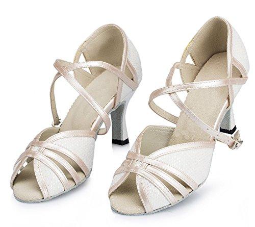 Le Scarpe Di Ballo Latino Della Salsa Di Modo Stampate Maglia Della Caviglia Delle Donne Di Tda Hanno Bianco