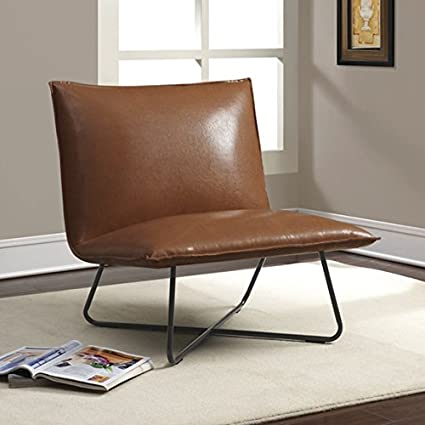 Living Room Custom Metal And Leather Lounge Chair