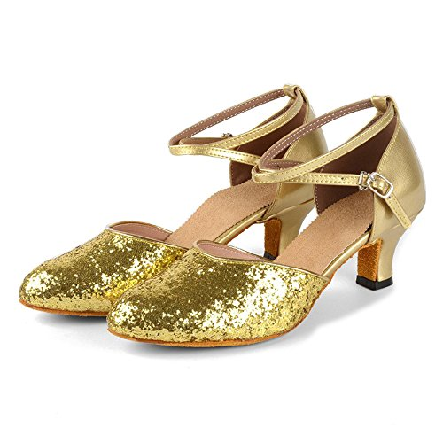 BOZEVON Criss Cross Toe Gold Ballroom Glitter Closed Women's Latin Shoes Dance Dancing Sequins Frwqtfx1TF
