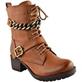 LADIES WOMENS LACE UP CHUNKY BIKER PUNK MILITARY COMBAT WORKER ANKLE BOOTS SHOES