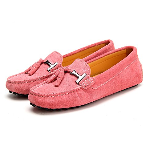 Ausland Kvinna Loafers Mocka Mockasiner Slip-on Skor Rosa