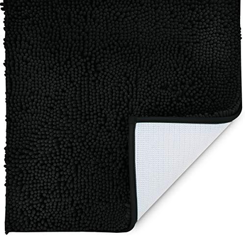 MAYSHINE 31x59 inch Absorbent Microfiber Quick Drying Chenille Shaggy Machine Washable Dog Runner Door mat   Black