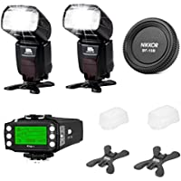 Pixel iTTL Flash Speedlite X800N PRO Flash Kit for Nikon DSLR -[2X800N PRO Flash]+[1King PRO Flash Trigger Transceiver]+[1Nikon Rear Lens Cap] with Accessories