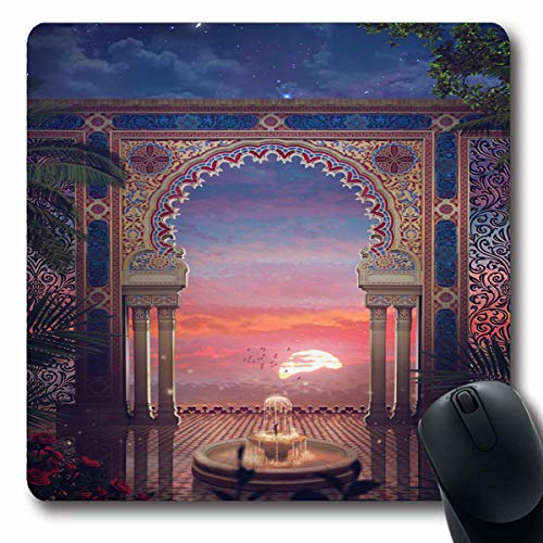 Tobesonne Mousepads Arabian Palace Gate Moroccan Africa Oriental Morocco Entrance Design Tiling Oblong Shape 7.9 x 9.5 Inches Non-Slip Gaming Mouse Pad Rubber Oblong Mat