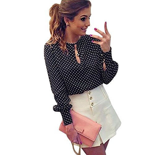 Gillberry Women Casual Long Sleeve Blouses Summer Chiffon Polka Dots Shirt Tops (XXL)