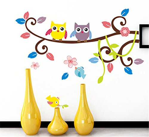 Vwh Cute Owl Diy Wall Stickers Mural Wallpaper Decals