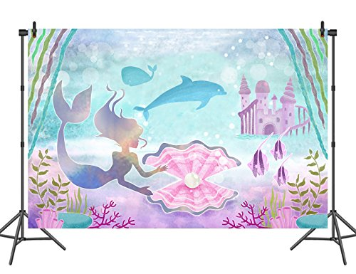 Sensfun 7X5FT Vinyl Little Mermaid Birthday Party Backdrop Under the Sea Watercolor Cake Table Banner Decorations Photography Background Photobooth props]()