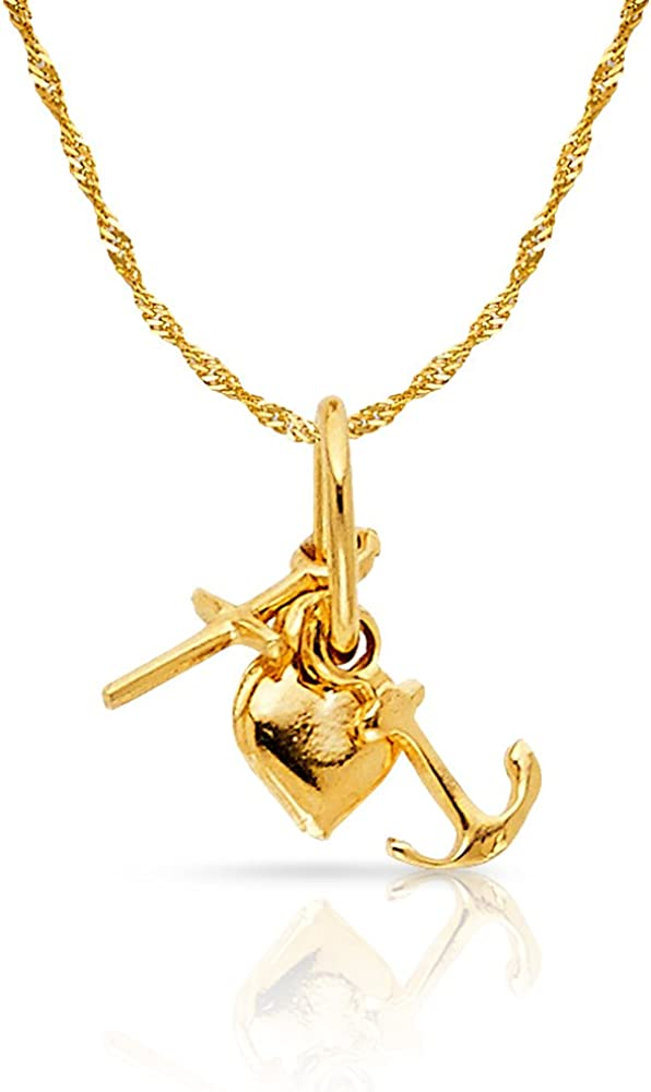14K Yellow Gold Cubic Zirconia CZ Girl Prayer Charm Pendant with 0.9mm Singapore Chain Necklace