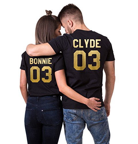 Bonnie+Clyde 03 Matching T-Shirts, Couple Outfit (Black)-M/S (Couples Outfit)