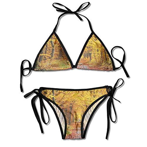 Women's Bathing Bikini Set,in Autumn Colors Countryside Sexy Bikini 2 Pieces