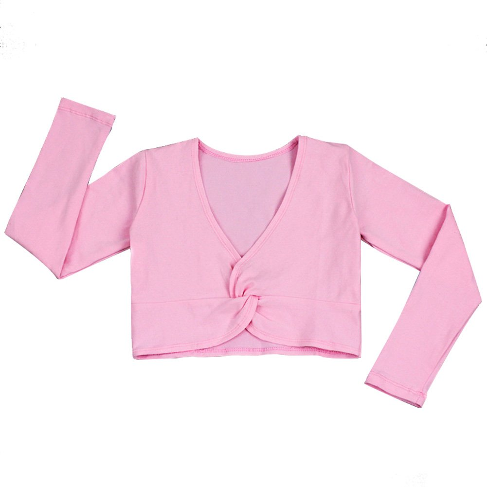 DREAMOWL Girl's Long-Sleeved Dance Practice Costume (M, Pink)