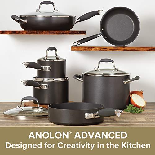Anolon 82676 Advanced Hard Anodized Nonstick Cookware Pots and Pans Set, 11 Piece, Graphite