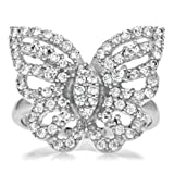Silvertone and CZ Pave Butterfly Cocktail Ring