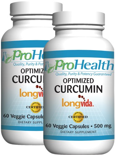 Optimized Curcumin Longvida by ProHealth (500 mg, 60 veggie capsules) - 2 Pack by ProHealth