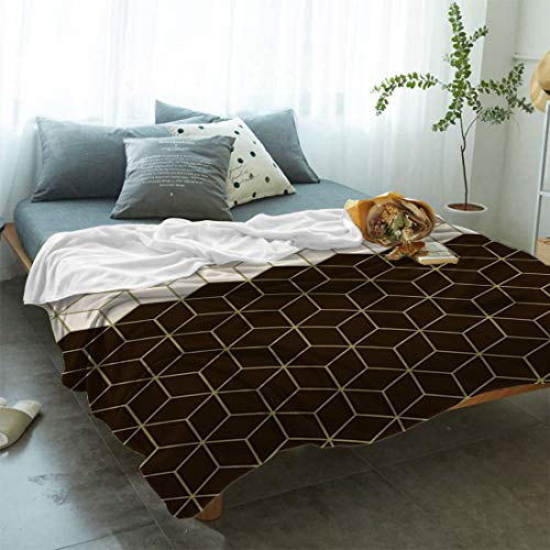 Victories Super Soft Fleece Blanket Geometric Pattern Fuzzy Lightweight Fannel 3D Square Grid Modern Design Throw Blanket for Bed Couch Chair (40
