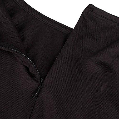 Wenseny Mujer Vestidos Elegante Encaje Sin Mangas Redondo Cuello Fishtail Bodycon Vestido Negro
