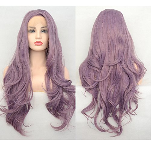 Beauty : Luwigs Long Wavy Synthetic Lace Front Wig Ash Purple Heat Resistant Fiber Hair Half Hand Tied Wig with Baby Hair for Women Natural Looking 24Inches