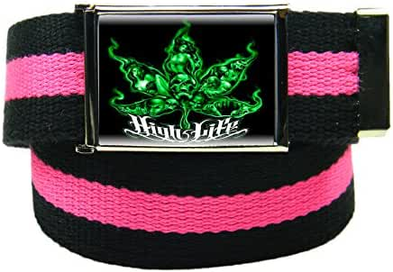 Men's High Life Flip Top Bottle Opener Belt Buckle with Canvas Web Belt