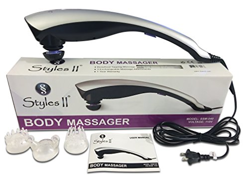 Styles II Therapeutic Percussion Body Massager - 3 Variable Attachments To Relieve Knots, Pains, Stiffness & Fatigue In Neck, Shoulders, Feet, Hips, Back, Thigh & More - Great For Home & Travel Use