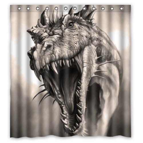 "UPC 631266066037, Retro Fierce Dragon Roaring Shower Curtain 66""x72"" Inches Shower Rings Included Easy Choice"