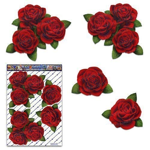 RED ROSES Flower Large Pack Decal Car Stickers - ST00066RD_LGE - JAS Stickers