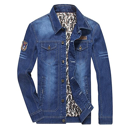 DeLamode Men Spring New Denim Jacket Pocket Natural Army Jeans Cowboy Coat DarkBlue-S