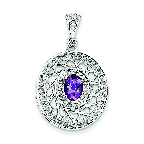 Argent Sterling diamant et améthyste JewelryWeb-Pendentif en forme de cercle