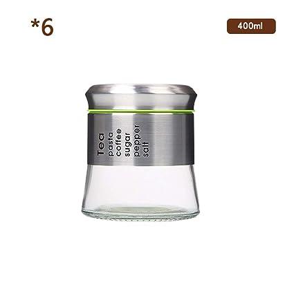 Especia/Tarro Del Almacenaje 6 Botellas De Cristal Sin Plomo Redondas De La Especia Del