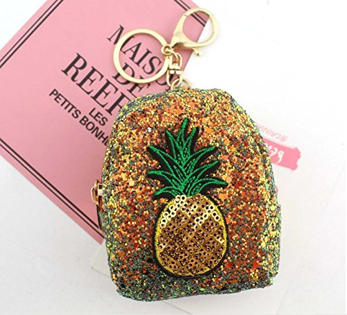 Gydthdeix 1 Pcs Gold Pineapple Newest Yellow Sequin Coin Pu Purse Change Cash Bag Zipper Small Wallet Handbag Novelty Keychains Ring Charm Car Cell Phone Decor Ornament Gift for Girl Women Set