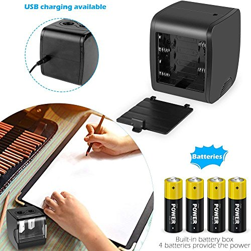 Electric Pencil Sharpener, AOFU USB Double Hole Battery Operated Heavy Duty Sharpener for kids, School and Office (Black)-003 by AOFU (Image #4)'