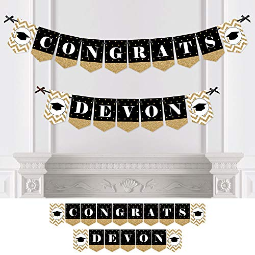 Big Dot of Happiness Custom Tassel Worth The Hassle - Gold - Personalized Graduation Party Bunting Banner & Decorations - Congrats Custom Name Banner]()