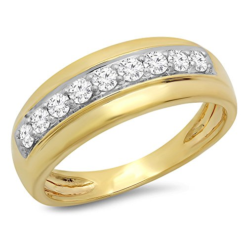 18k White Gold Diamond Wedding Band - Dazzlingrock Collection 0.50 Carat (Ctw) 18K Round Cut White Diamond Men's Wedding Band 1/2 CT, Yellow Gold, Size 11