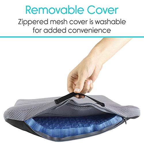Vive Gel Seat Pad Cushion (Gray) - Orthopedic Seating for Cars, Outdoors, Stadium, Truck, Van, Office, Wheelchairs - For Coccyx, Butt Bone, Tailbone Pain, Lower Back, Sciatica - Sitting Pillow by Vive (Image #4)