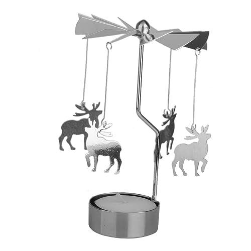 Rotary Tea Light Carousel Tealight Candle Holder Deer Pattern