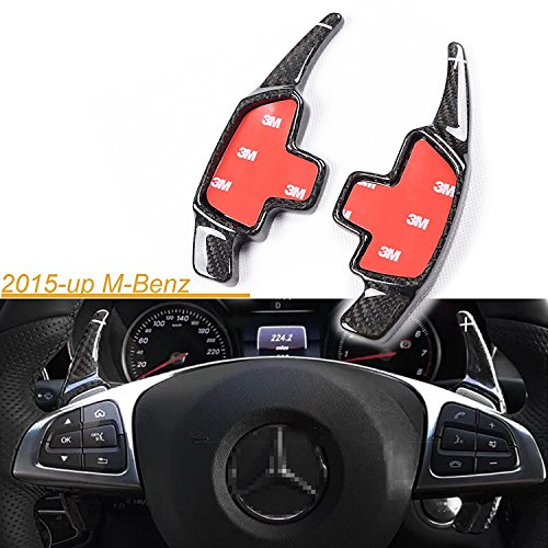 3d Paddles (One Set Real Pure Carbon Fiber 3D Steering Wheel DSG Paddle Shifter Extension Direct Fit 2015-up Mercedes Benz C E CLA GLA GLC W205 W213 X205 W117 X156)