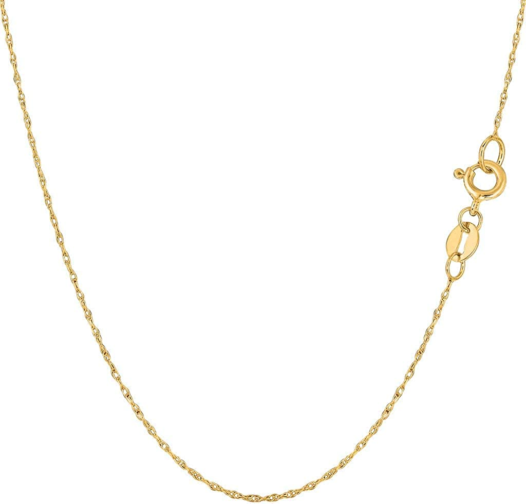 16, OR 18 inch OR .70mm Thick Shiny Classic SOLID Rope Chain Necklace for Pendants and Charms with Spring-Ring Clasp 10k REAL Yellow Gold .40mm .50mm .60mm