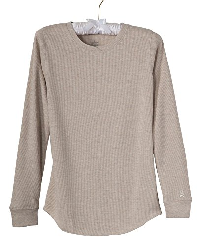 Cuddl Duds Waffle Knit Thermal Top, Ivory, - Underwear Duds Cuddl Thermal