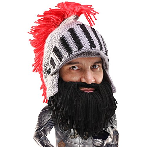 Beard Head Knight Beard Beanie - Funny Knitted Helmet and Fake Beard and Visor Black]()