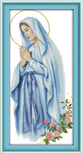 Cross Stitch Embroidery Starter Kit Including 11ct Classic Reserve Aida Colored Threads And Tools Virgin Mary (No - Colored Classic Pattern