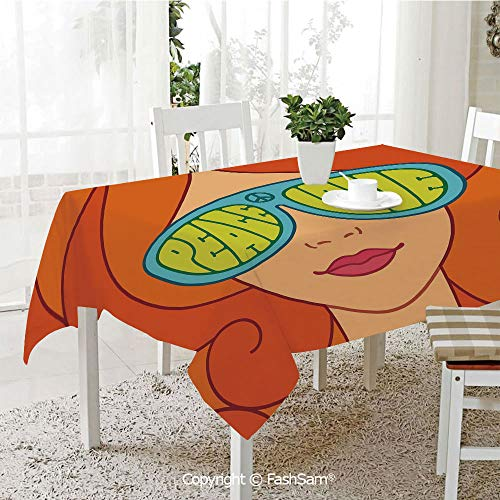 FashSam 3D Print Table Cloths Cover Red Hair Girl with Sunglasses Retro Typography Hippie Love and Peace Waterproof Stain Resistant Table Toppers(W60 -