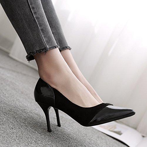 FLYRCX La mujer negra de zapatos de tacón, tacón fino suede temperamento parte solo zapatos Zapatos,38 36