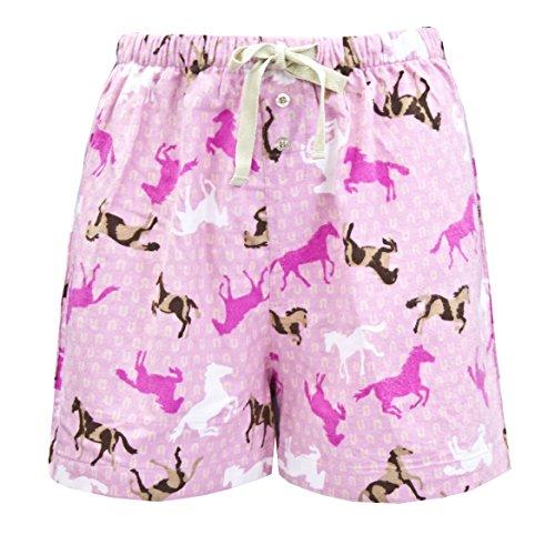 Horse Short (Leisureland Women's Cotton Flannel Pajama Sleepwear Lounge Boxer Shorts Horse Print Pink)