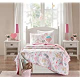4 Piece Paris Dreamland Themed Coverlet Set Full/Queen Size, Featuring Hot Air Balloons Poodles Bicycles Eiffel Tower Design Bedding, Casual Novelty Parisian Inspired Chic Girls Bedroom, Pink, White