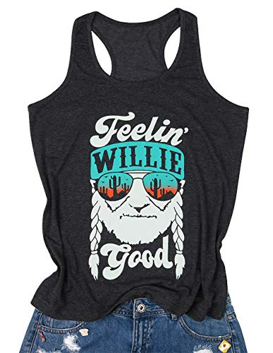 MOUSYA Women Sleeveless Tank Top, Feelin' Willie Good Letter Printed Graphic Vest Top Casual Tee, Gray Size M (Rolling Stones Tank Top)