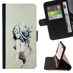 BullDog Case - FOR/Sony Xperia Z2 D6502 / - / SEXY PIN UP WONDER WOMAN GIRL /- Monedero de cuero de la PU Llevar cubierta de la caja con el ID Credit Card Slots Flip funda de cuer