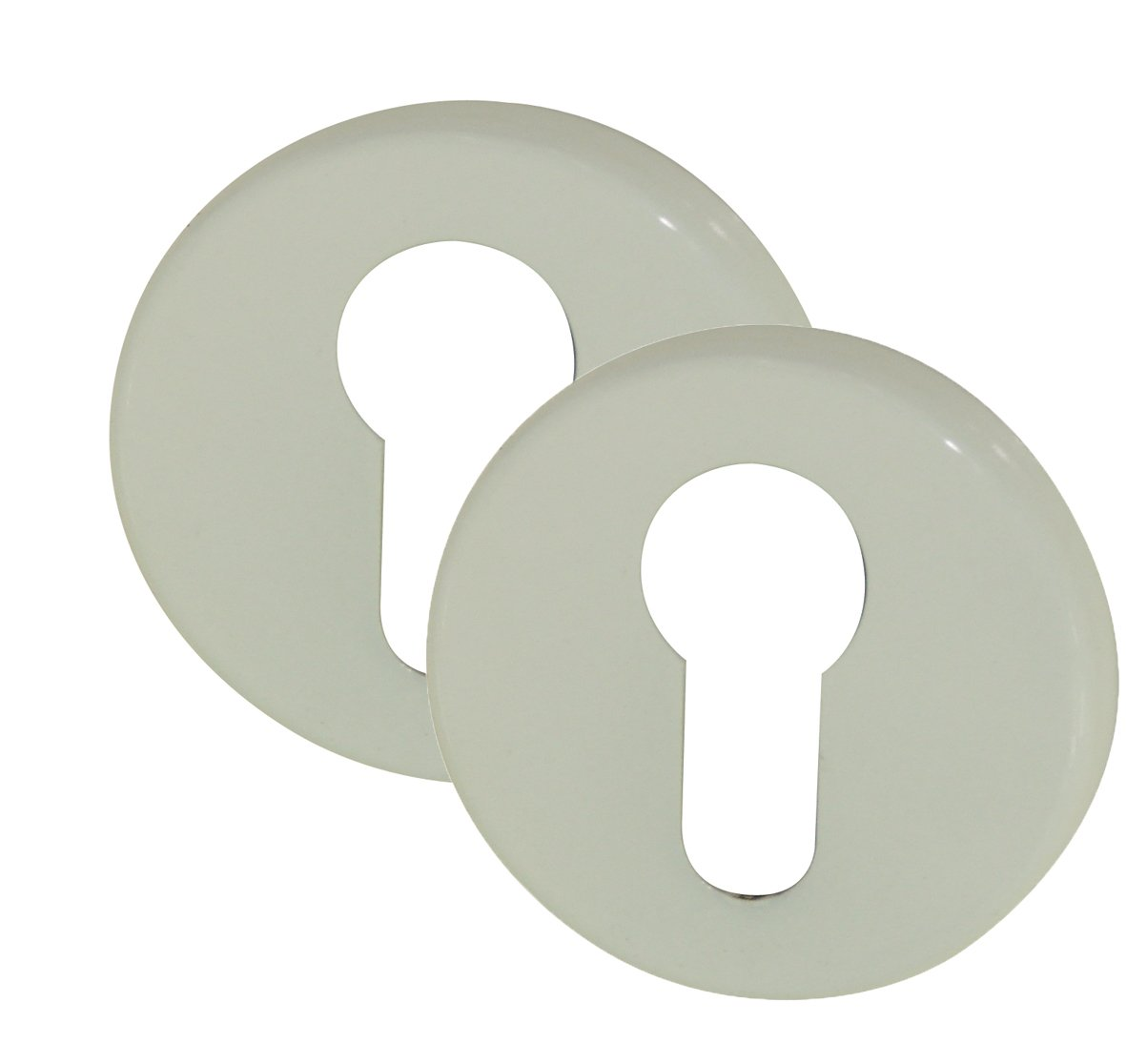 DT 2000 105582 - Rosetta Modena tonda con foro yale, per serratura, in alluminio, 2 pezzi, colore: Bianco