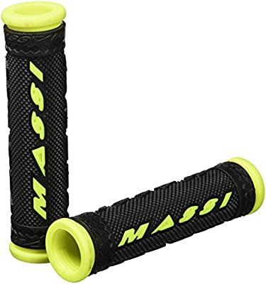 Massi Double Density Puños de Bicicleta, Unisex Adulto, Negro/Neón, 125mm: Amazon.es: Deportes y aire libre